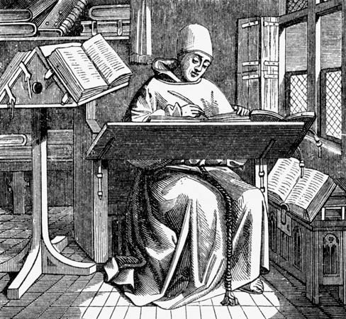 Mediaeval woodcut of a monk writing in a scriptorium.