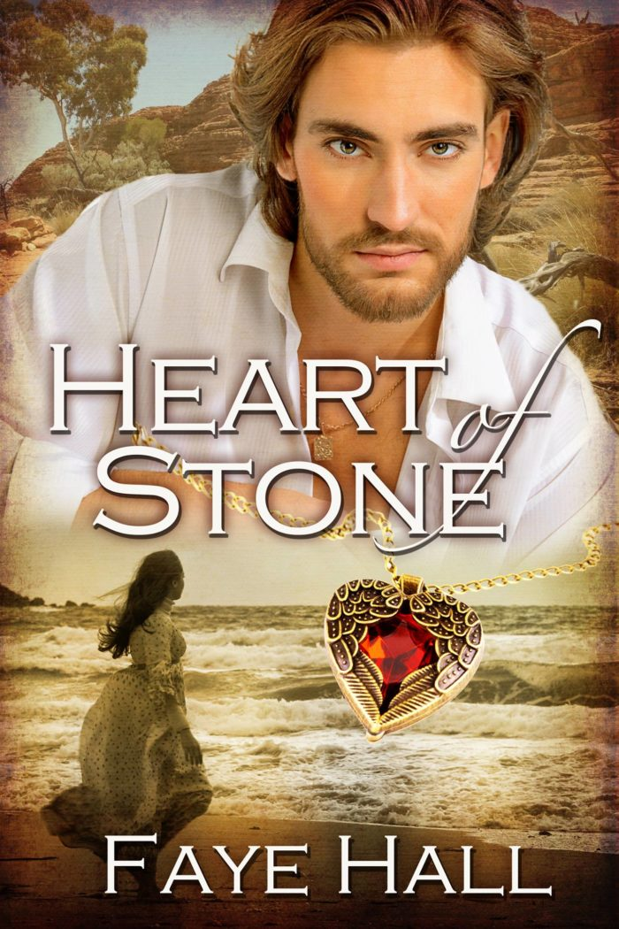 The cover of Heart of Stone - a blond-haired man in a white shirt at the top of the image, with a woman in a long dress facing away at the bottom. In the middle, a heart-shaped red jewel encased in gold.