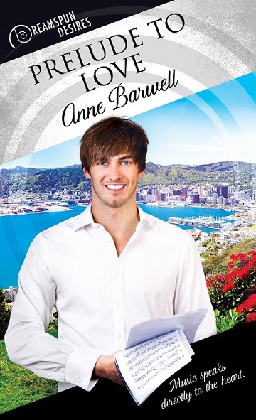 The cover of the book Prelude to Love, showing a smiling young man in front of a bay with clear blue water.