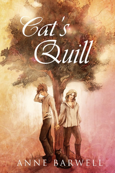 Cover of the book Cat's Quill, showing two figures standing under a tree.