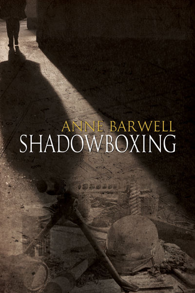 The cover of the book Shadowboxing, showing an unseen person's shadow spreading across the floor.
