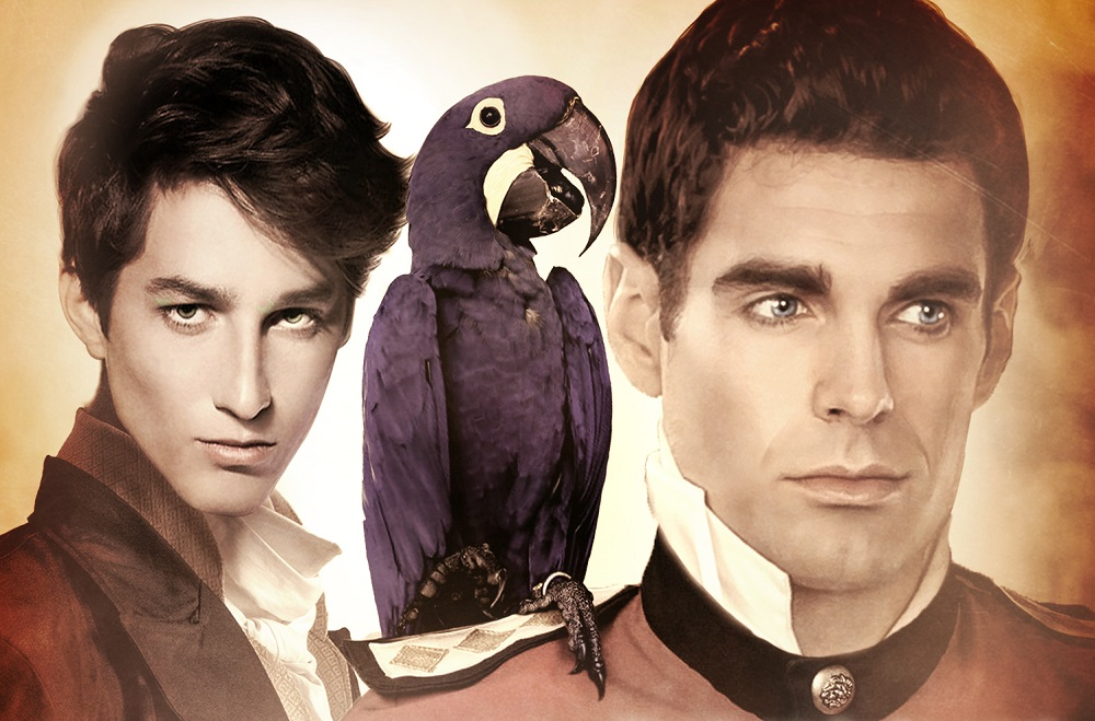 Orsini, the parrot and Captain Pendleton from the cover of The Captain and the Theatrical.