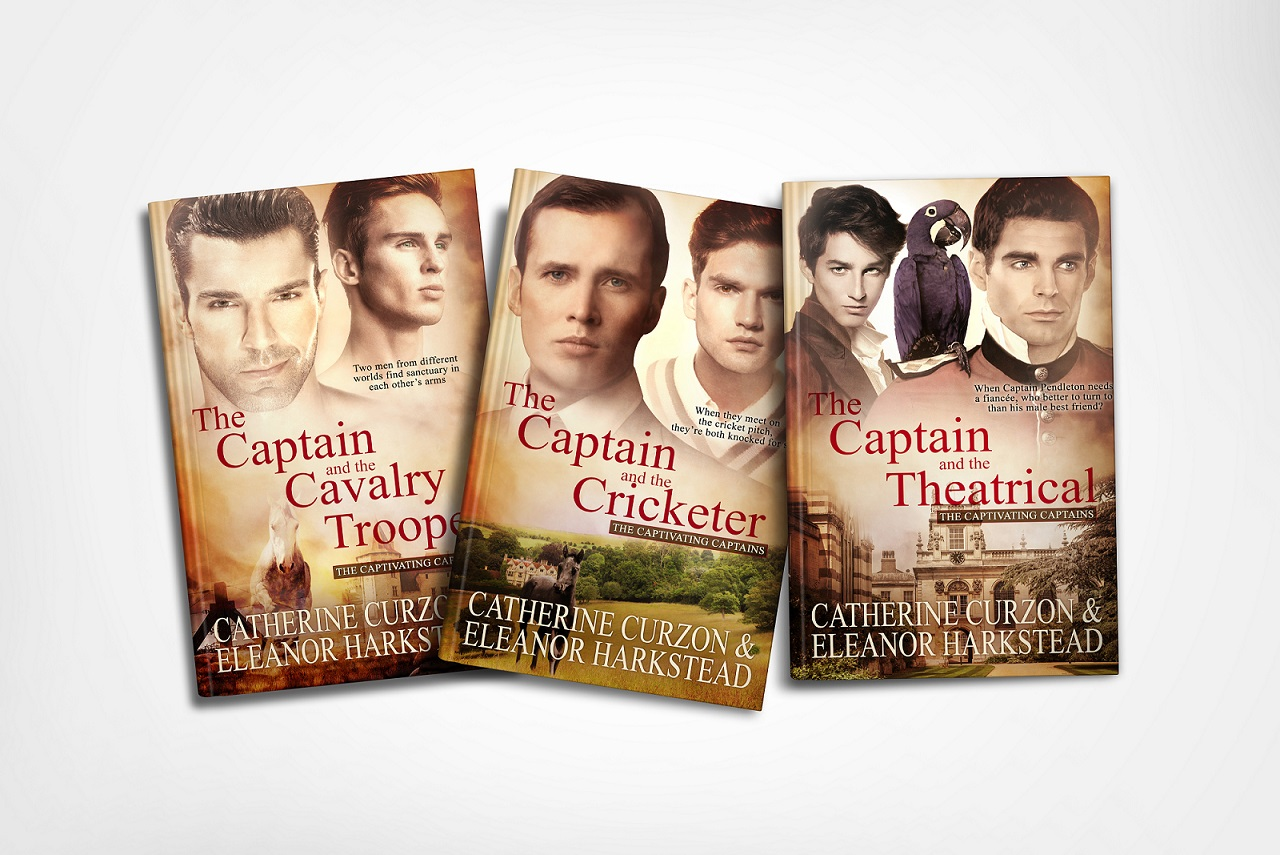 The three covers of the Captivating Captains novels.
